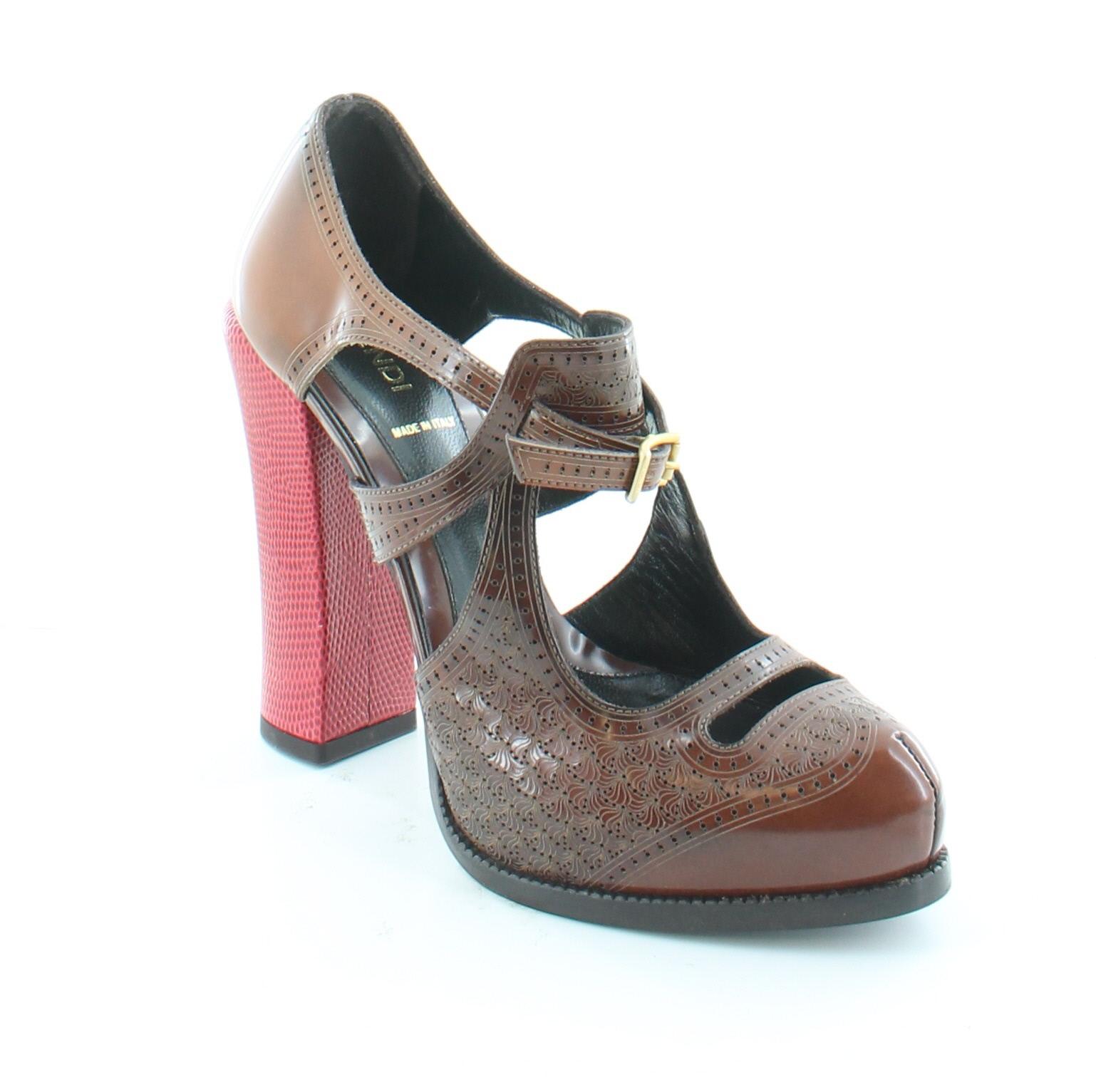 fendi polifonia brown womens shoes size 8 5 m heels msrp