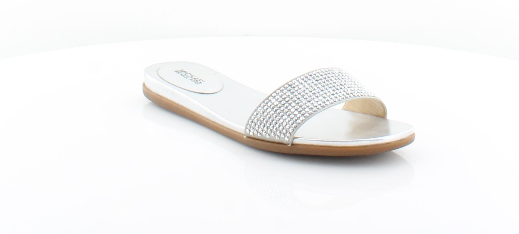 2003fd792453 Michael Kors Eleanor Slide Silver Womens Shoes Size 6 M Sandals MSRP ...